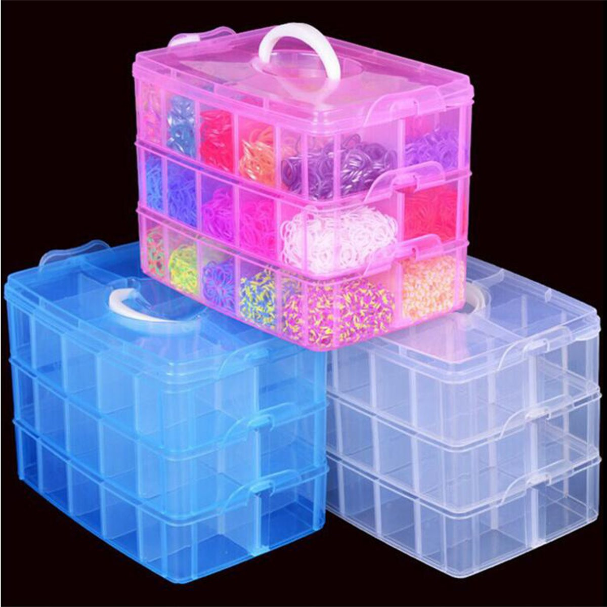 Meigar 3 Layer 18 Grids Slot Plastic Craft Storage Box|Stackable Jewellery Tool Container|Clear Plastic Stackable Storage Box for Storing & Organising Sewing Embroidery