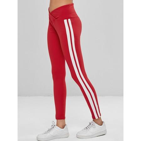 38d4e5f75b328 ZAFUL - Women'S Stripes Tulip Waist Gym Fitness Leggings Waist Tights  Workout Yoga Pants Beige Running Gym Stretch Sports Pants Trousers -  Walmart.com