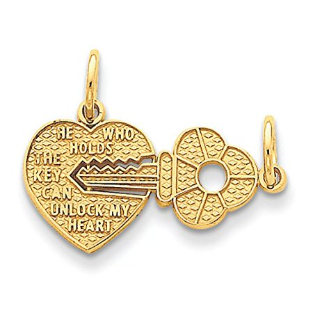 14K Yellow Gold Heart and Key Break Apart Charm Pendant 14k Gold Heart Key