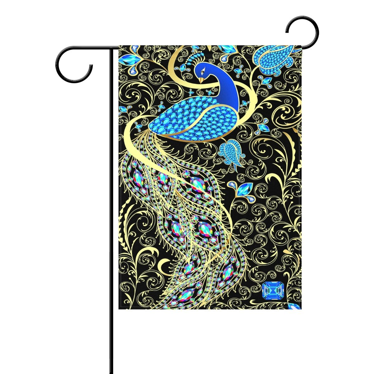 POPCreation Elegant Peacock Garden Flag Damask Flower Outdoor Home Party 12x18 inches