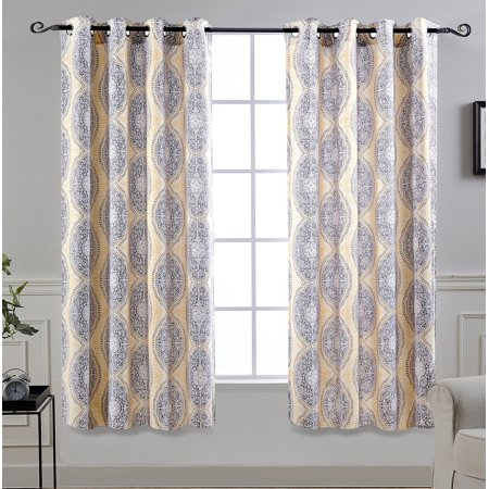 Driftaway Adrianne Thermal Room Darkening Window Curtain Panel Pair 52 X63 Yellow Gray