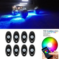 Jeobest 8 Pods LED Rock Lights LED Truck Bed Lighting Bluetooth Remote Control Multicolor Neon LED Light Kit for Jeep Off Road Truck Car ATV SUV Vehicle Boat Underbody Glow Trail Rig Neon Light