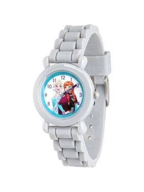 Frozen Elsa and Anna Girls' Grey Plastic Time Teacher Watch, Grey Silicone Strap