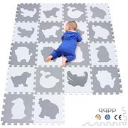qqpp EVA 18 Tiles Baby Play Mat for Playing, Interlocking Foam Floor Mats for Tummy Time & Crawling, Flooring Tiles with Animals Puzzle for Kids. QP-51(AL) b18N