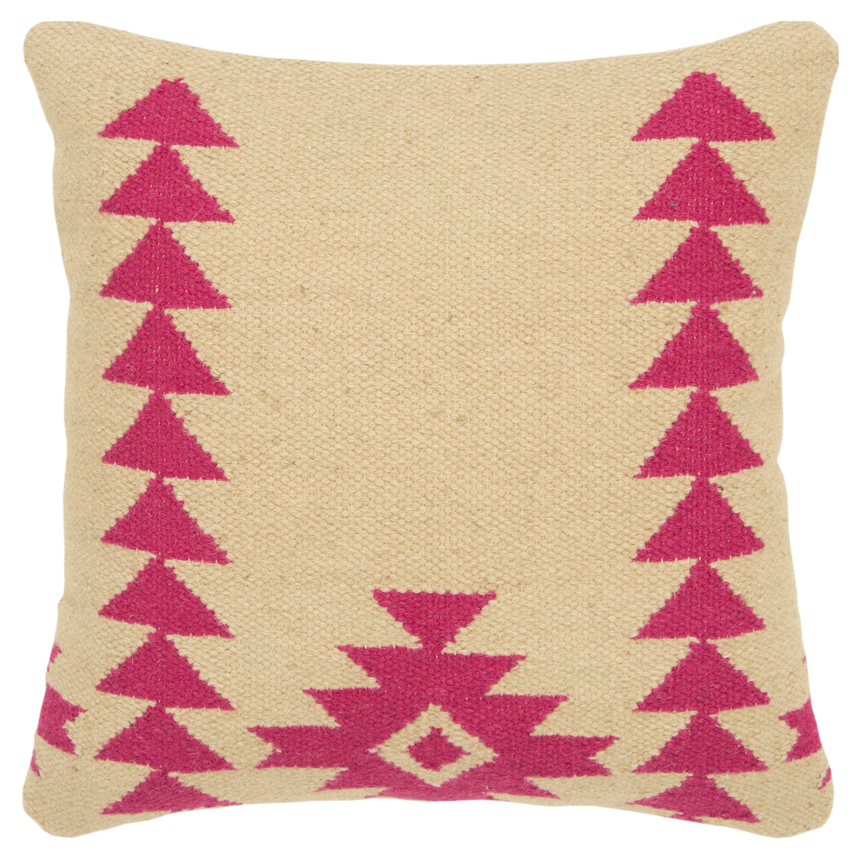 "Rizzy Home Decorative Down Filled Throw Pillow Aztek Motif 18""X18"" Pink"