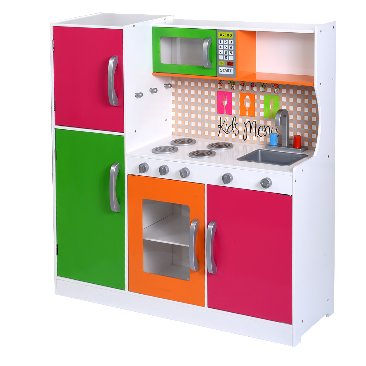 Wood Play Kitchen Set Costway Wood Kitchen Toy Kids Cooking Pretend Play Set Toddler