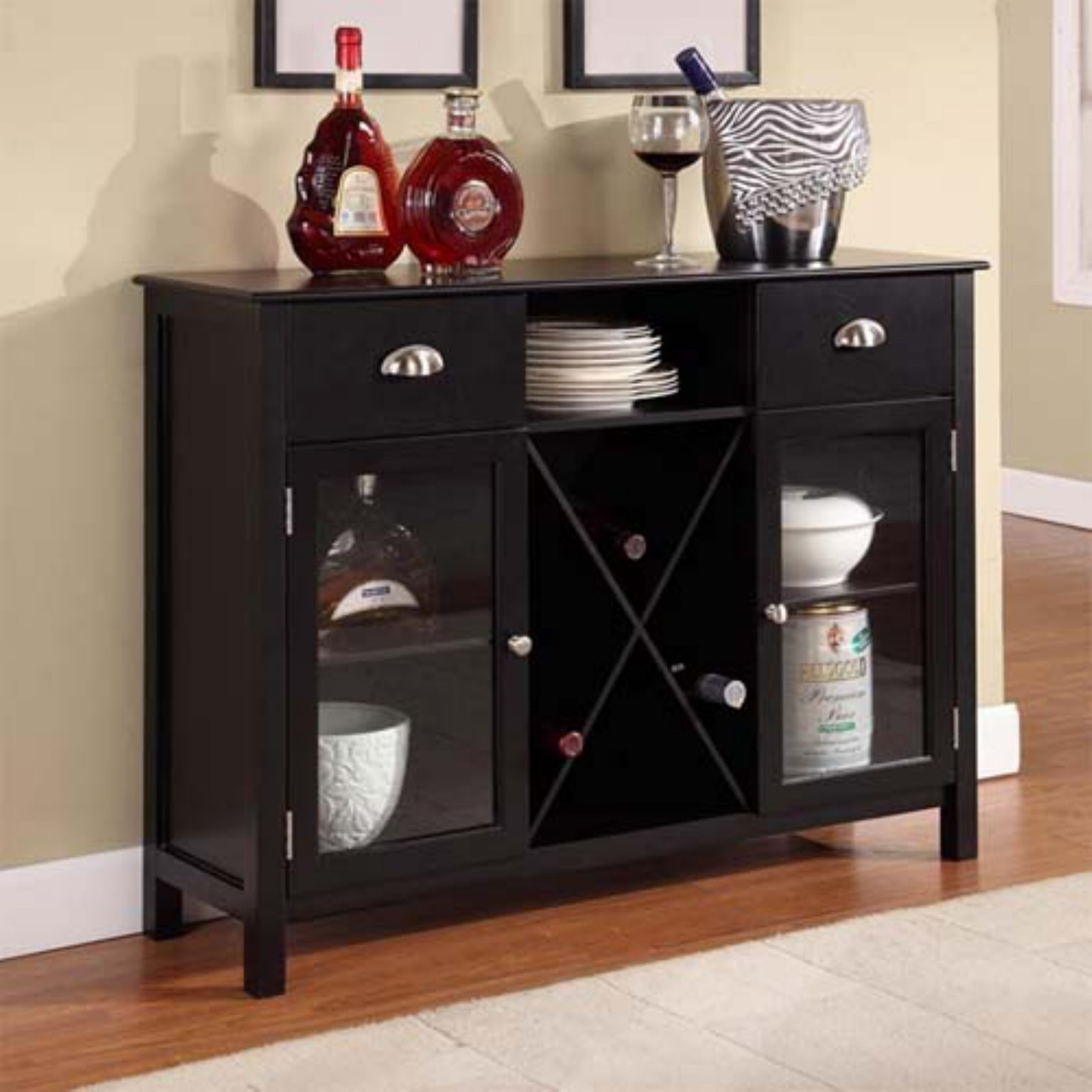 Click here to buy Buffet Server Wine Rack Black by KB Furniture.