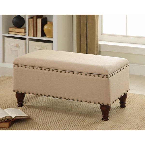 Storage Bench Ottoman with Nailhead Trim and Decorative Turned Wooden Legs * ...