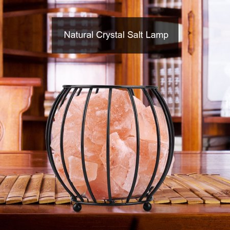 Hilitand Iron Frame Natural Crystal Salt Rock Lamp Air Purifier Home Room Night Light Decor, Salt Lamp, Crystal Salt Lamp - Crystal Rock Office