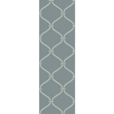 - 2.5' x 8' Egyptian Windows Slate Gray and Ivory White Area Throw Rug Runner