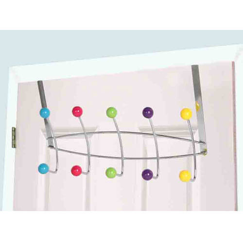Over-The-Door 5 Hooks Multi-Color Knobs