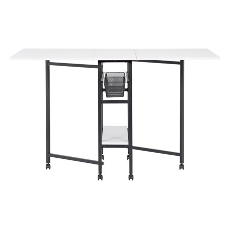 Offex Mobile Quilting Fabric Cutting Craft Table with Drawer Organizers, Casters - Charcoal/White (Fabric Cutting Table)