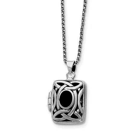 Sterling Silver Onyx & Marcasite Square Locket (Marcasite Onyx)