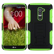 For G2 LS980 D800 D801, Optimus G2 Black/Electric Green Car Armor Stand Case