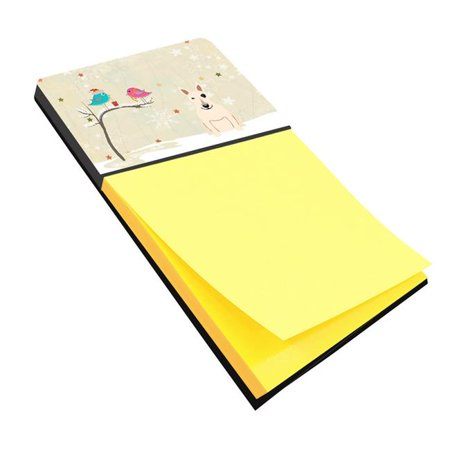 Carolines Treasures BB2610SN Christmas Presents Between Friends Bull Terrier White Sticky Note Holder ()