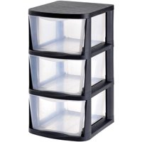 Edsal Muscle Rack PDT3 3 Drawer Tower, Black Frame with Clear Drawers