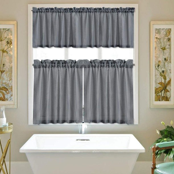 3 Pcs Kitchen Window Curtains Valance Waffle Weave Fabric Rod Pocket Small Bathroom Curtains Walmart Com Walmart Com