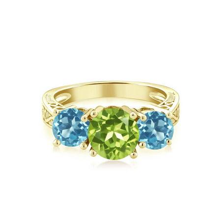2.35 Ct Green Peridot Swiss Blue Topaz 18K Yellow Gold Plated Silver 3-Stone Ring - image 1 de 2
