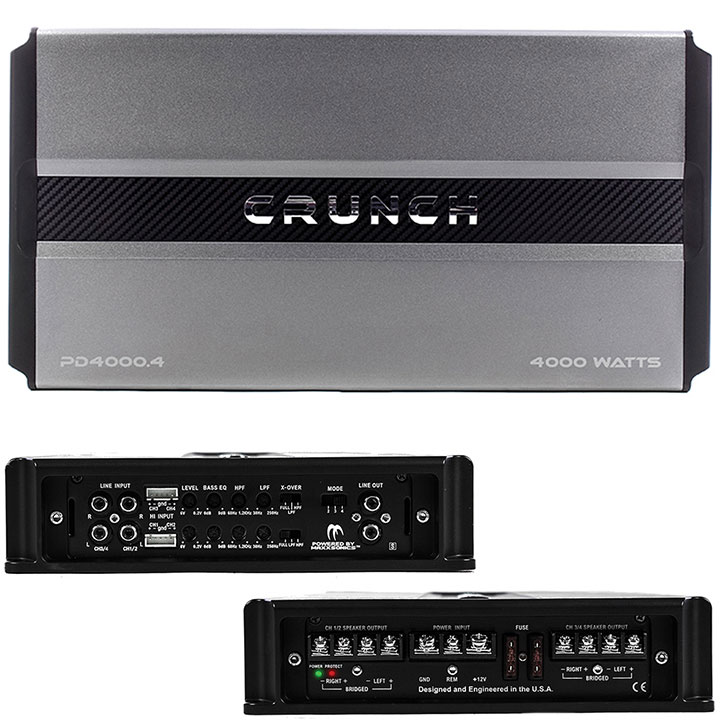 Crunch PD 4000.4 Pro Power POWER DRIVE Class AB 4-Channel Pro Power Bridgeable Amp, 4,000 Watts Max