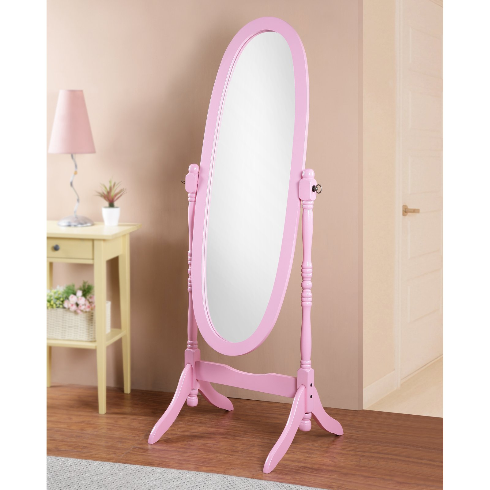 Roundhill Traditional Queen Anna Style Wood Floor Cheval Mirror, Oak Finish