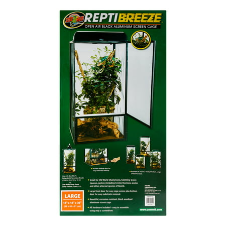 Screen Reptile Cage - Zoo Med ReptiBeeze Open Air Black Aluminum Reptile Screen Cage, Large
