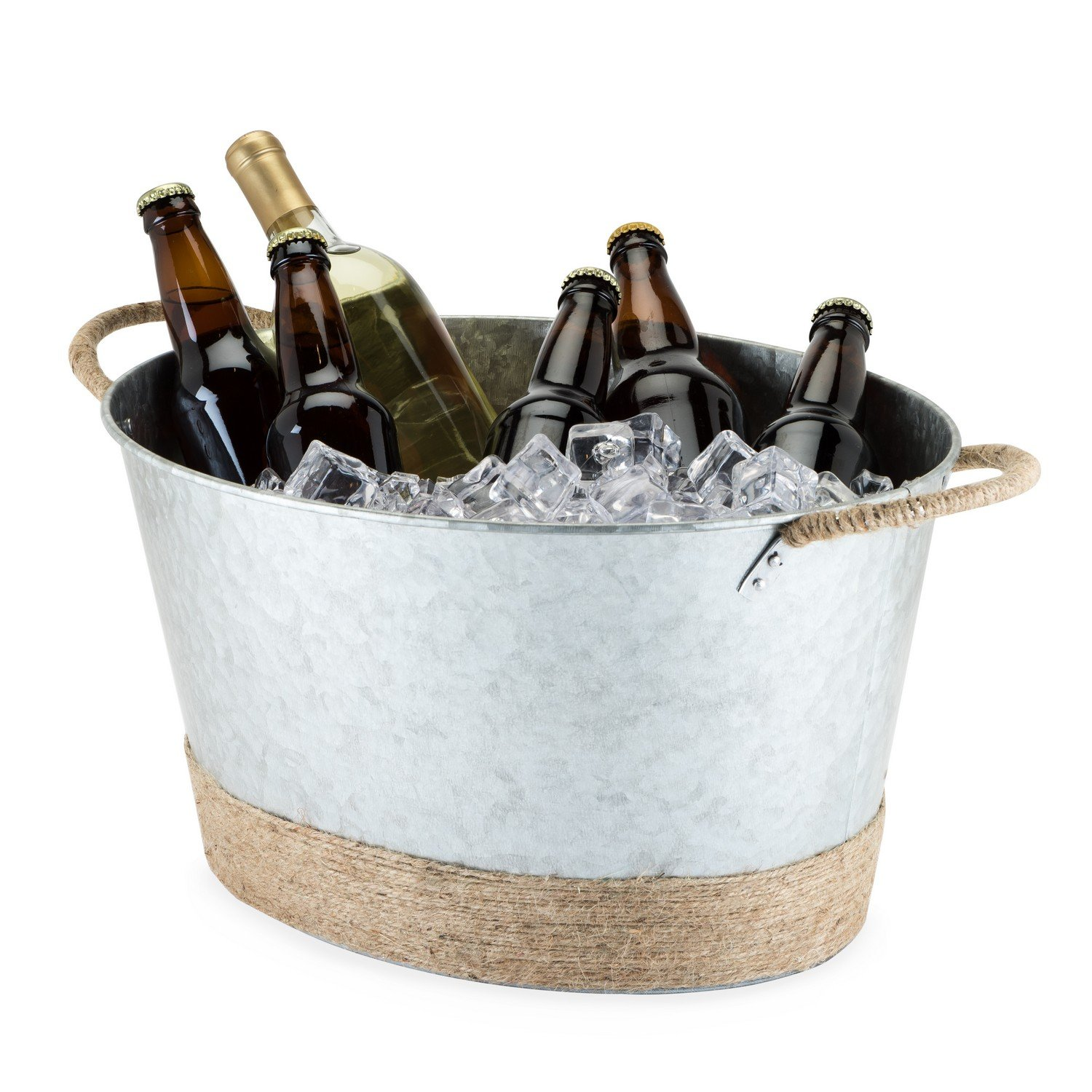Ice Buckets Large, Jute Rope Wrapped Galvanized Tub Insulated Vintage Ice Bucket