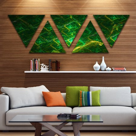 DESIGN ART Designart 'Green Fractal Electric Lightning' Contemporary Art on Triangle Canvas - 5 Panels (Contemporary Electra 1 Light)