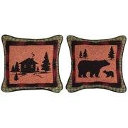 Manual Woodworkers & Weavers Bear Lodge Cabin/Bear Throw Pillow