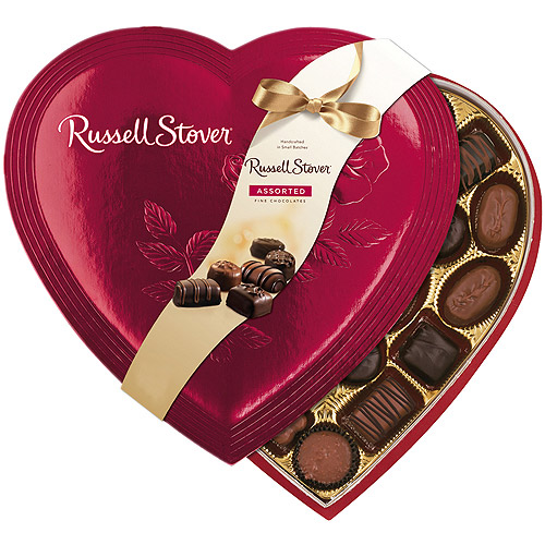 Russell Stover Valentine Assorted Fine Chocolates Red Foil Heart, 14 oz