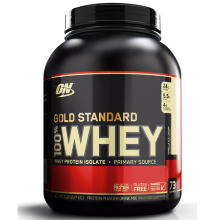 Optimum Nutrition Gold Standard 100% Whey Protein Powder, Vanilla Ice Cream, 24g Protein, 5 Lb](cheapest place to buy whey protein powder)