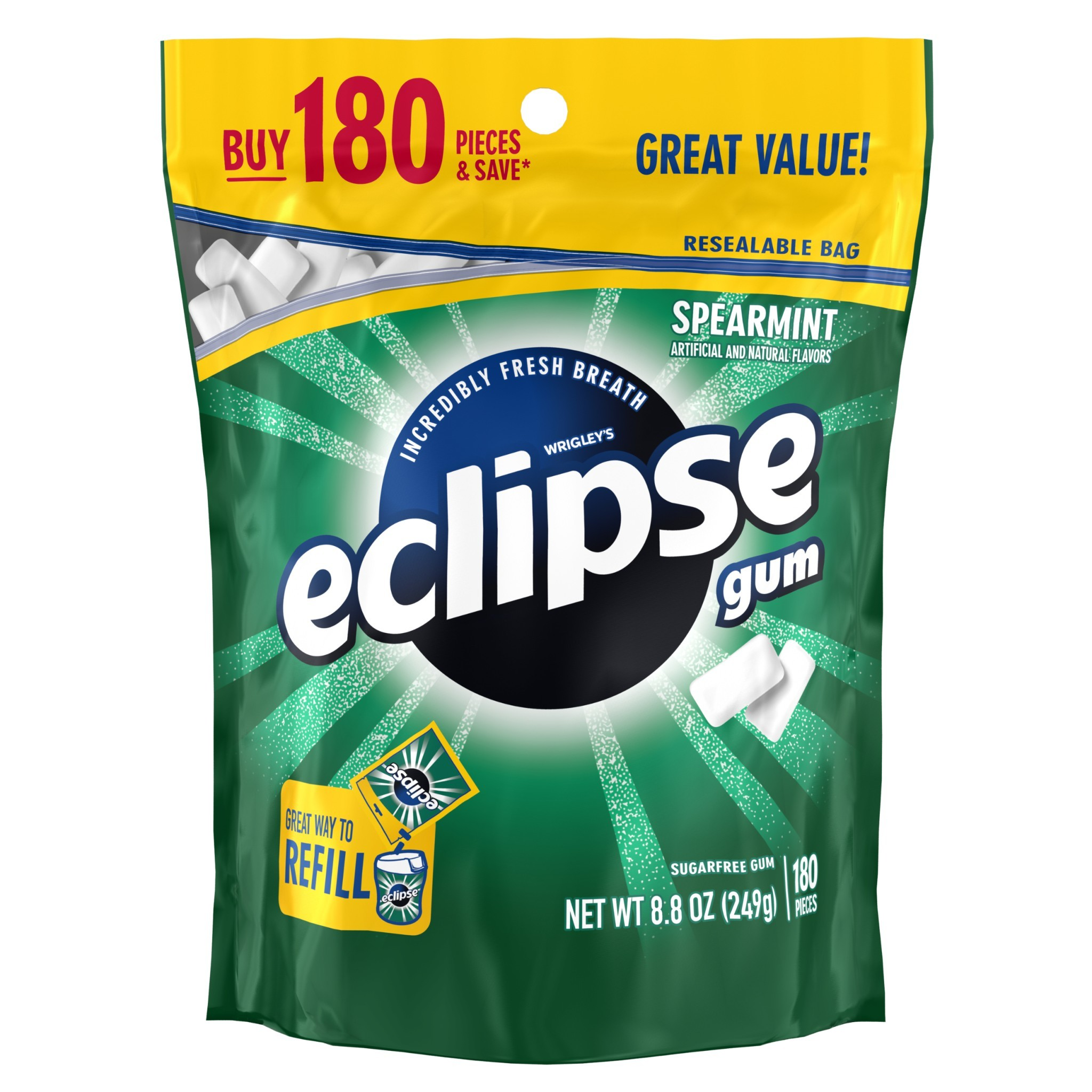 (2 Pack) Eclipse, Sugar Free Spearmint Chewing Gum, 180 Pcs