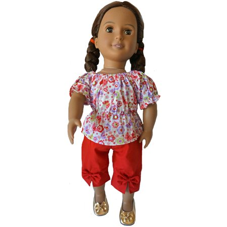 Red Flowers And Butterflies With Red Capri Pants Fit 8 Inch Girl Dolls