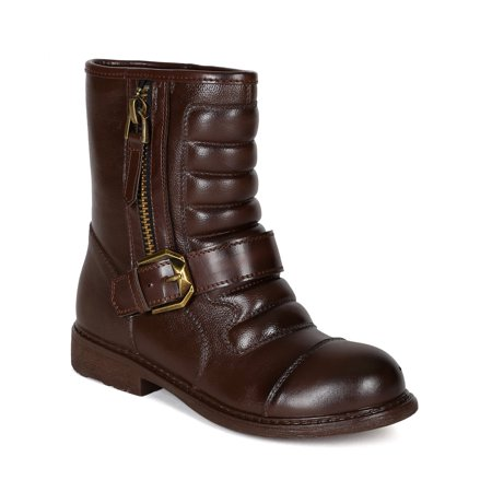 Bumper  Leatherette Padded Shaft Strap Riding Motorcycle Ankle Bootie