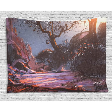 Winter Tapestry, Heaven Like Landscape Mystery Forest Rising Sun Oil Paint Style, Wall Hanging for Bedroom Living Room Dorm Decor, 80W X 60L Inches, Light Pink Orange Dark Brown, by (Light That Makes Room Look Like Forest)