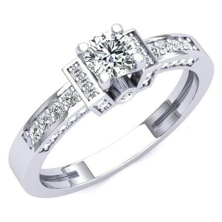 1.00 Carat (ctw) 18K Gold Round Cut White Cubic Zirconia Ladies Bridal Engagement Ring 1 CT