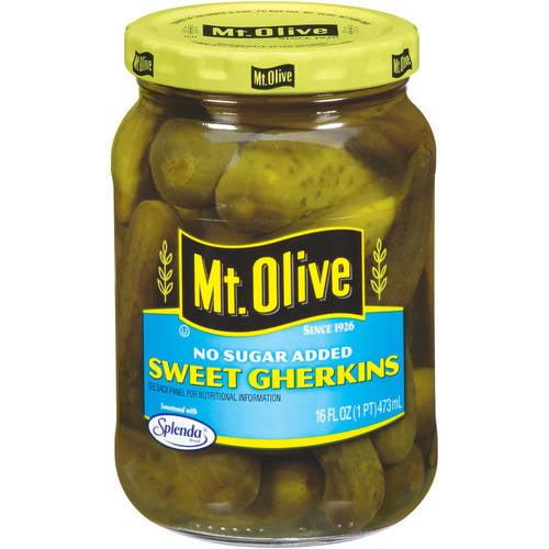 Mt. Olive Sweet Gherkins No Sugar Added Pickles, 16 fl oz