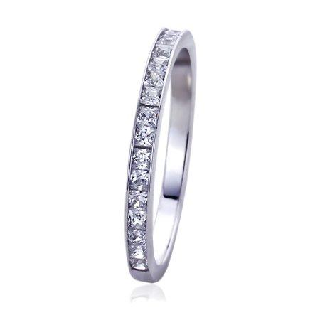 Women's 14K White Gold 0.57 ct.tw Princess CZ Channel Setting Half Eternity Band Wedding Anniversary Ring