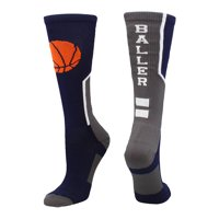 Baller Basketball Logo Crew Socks (Black/Orange, Medium) - Black/Orange,Medium