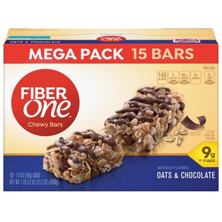 Fiber One Chewy Bar Oats and Chocolate 15 Fiber Bars Mega Pack 5.2