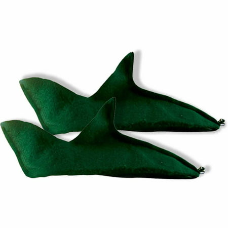 Green Felt Elf Shoes Adult Halloween Accessory (Elf Yourself Halloween Games)