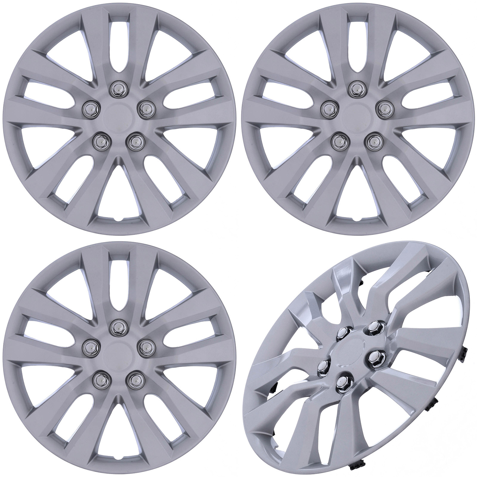 """Cover Trend (Set of 4) SILVER Aftermarket 16"""" Inch Hubcaps fits Nissan Altima, Quest - Replica Snap-On Wheel Covers"""
