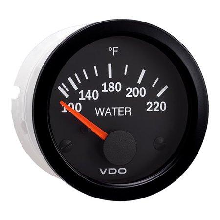 VDO Vision Black 220°F Water Temperature Gauge - Use with US Sender - 12V Vision Black 220°F Water Temperature Gauge