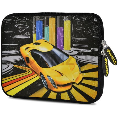 Line Racer - Designer 7.75 Inch Soft Neoprene Sleeve Case Pouch for Samsung Galaxy Tab A 7.0 2016, Samsung Galaxy J Max, Samsung Galaxy Tab 3 Lite 7.0, Samsung Galaxy Tab 4 7.0 - Shinning Racer