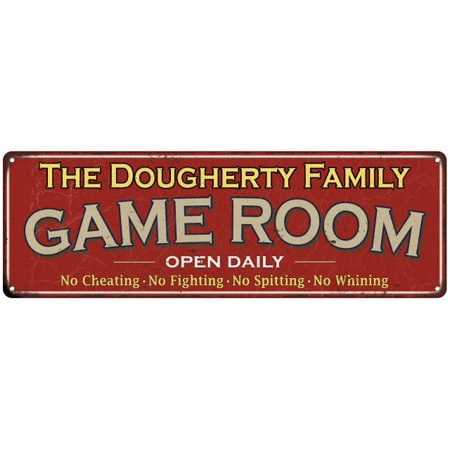 The Dougherty Family Game Room Red Vintage Look Metal 6X18 Sign Family Name 6189101