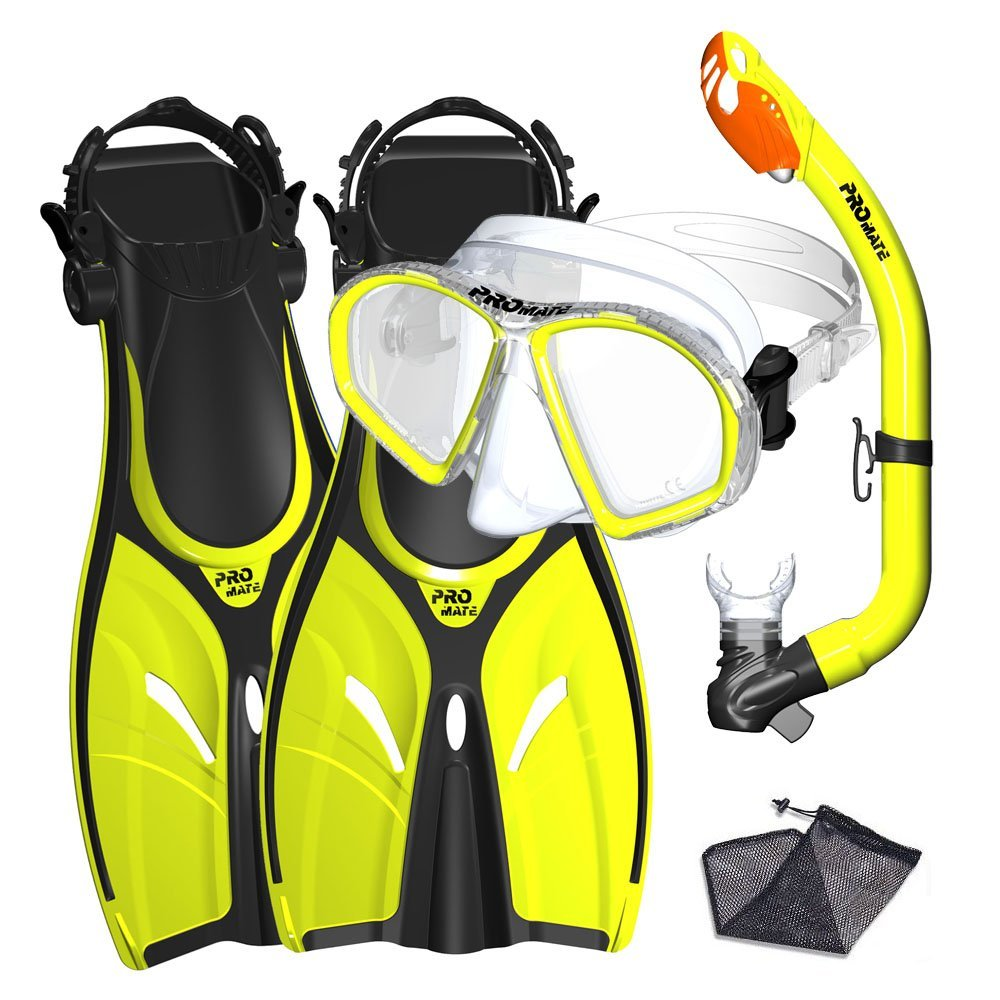 Promate Junior Mask Fins Snorkel Set for kids, Yellow, LXL by