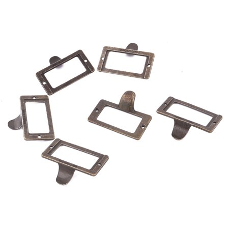 Household Metal Cabinet Drawer Box Case Tag Label Card Holders Bronze Tone 6 Pcs