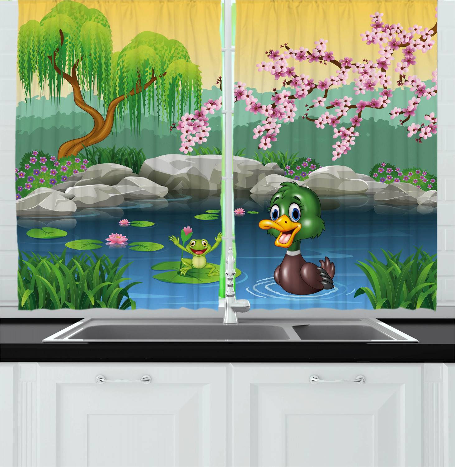 Cartoon Curtains 2 Panels Set Vector Cute Ducks Frogs In A Lake Pond Trees Image Kids Nursery Design Artwork Window Drapes For Living Room Bedroom 55w X 39l Inches Multicolor By Ambesonne