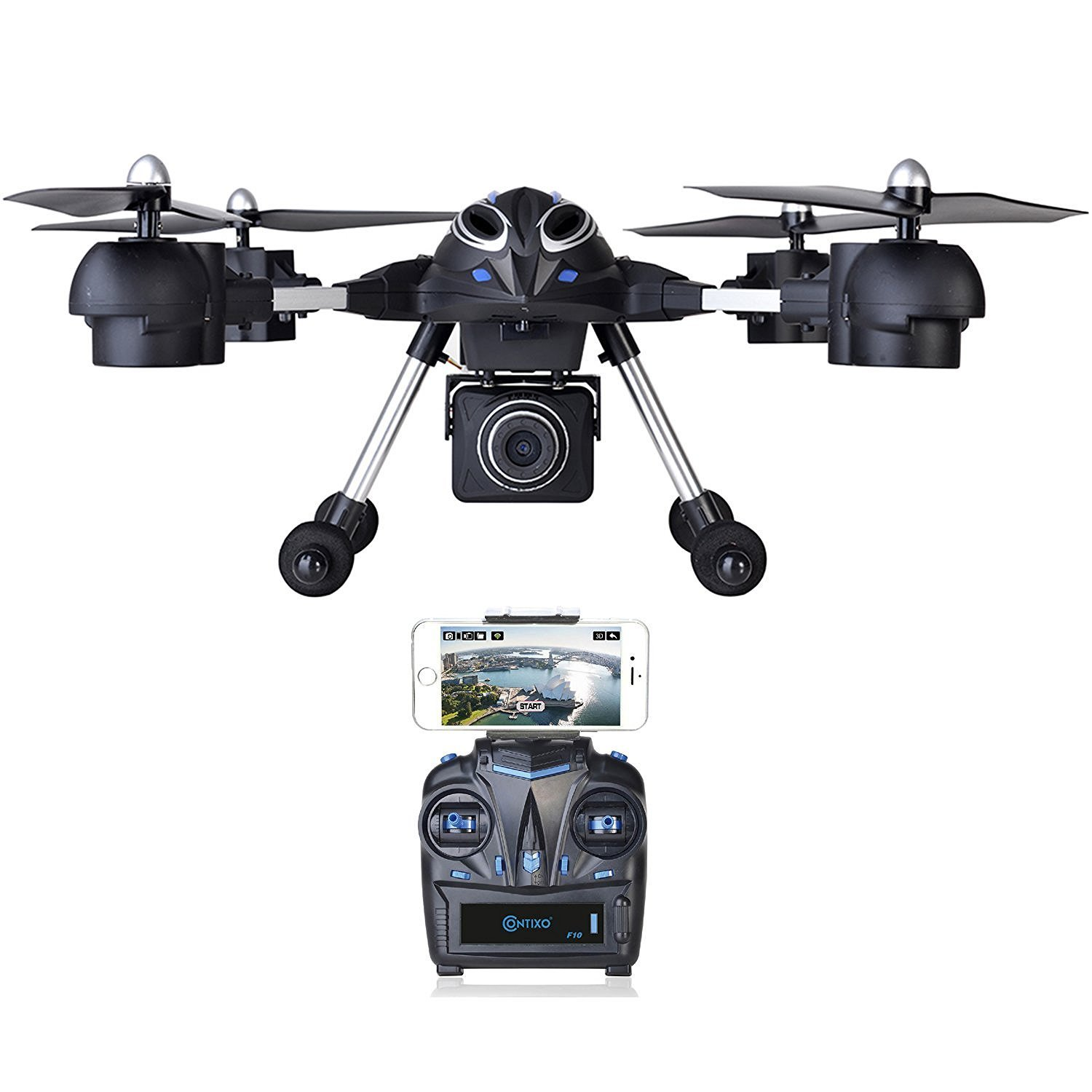 Contixo F10 Quadcopter RC Drone, 4 Channel, 2.4GHz, 6 Axis Gyro RTF, Support GoPro HERO Cameras (WiFi HD Camera Included, FPV Monitor Included)