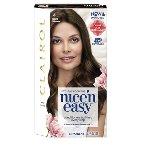 Clairol Nice 'n Easy Hair Color, 4 Dark Brown (Best Hair Dye To Go Lighter)