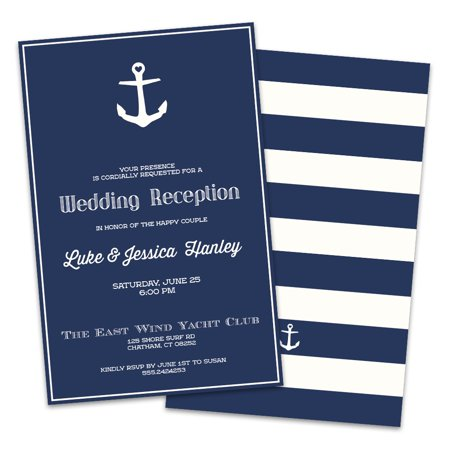 Nautical Anchor Personalized Wedding Reception Invitations
